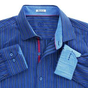 Bugatchi Mens Striped Shirt EUC Size L Shaped Fit
